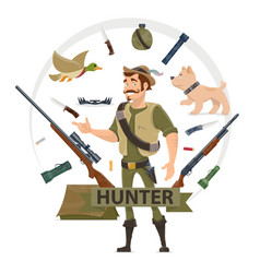 Colorful hunting elements concept vector