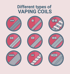 Different types of vaping coils flat icons set vector