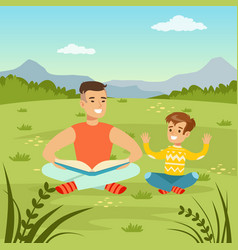 Father reading a book to his son on natur vector