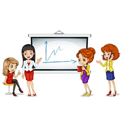 Girls near the bulletin board vector