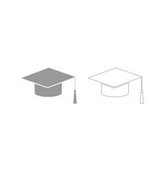 Graduation cap grey set icon vector