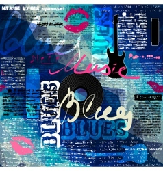 Grunge blue newspaper with original inscriptions vector image vector image