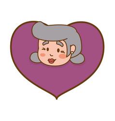 heart grandmother elder head vector image vector image