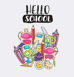 Hello school doodle clip art greeting card vector