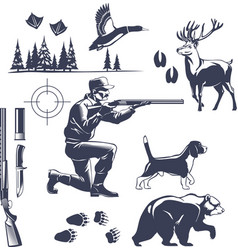 Hunting vintage style icons set vector