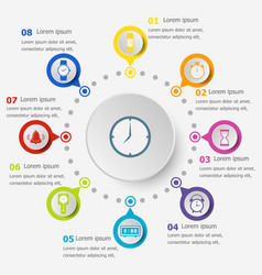 Infographic template with time icons vector