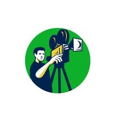 Movie director movie film camera circle retro vector