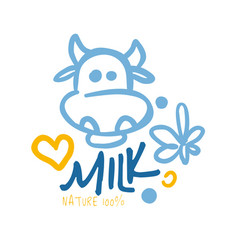 nature milk product logo symbol colorful hand vector image vector image