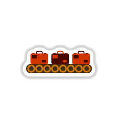 paper sticker on white background suitcases vector image vector image