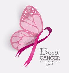 Pink ribbon with butterfly wings for breast cancer vector