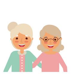 Portrait of elderly women frinds together vector