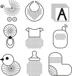 Set of black babys symbols vector image vector image