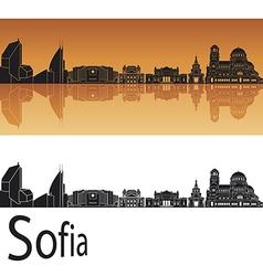 Sofia skyline in orange background vector
