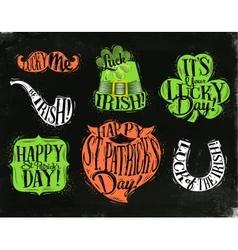 St Patrick symbols chalkboard vector image vector image