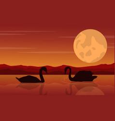 Swan on lake landscape vector