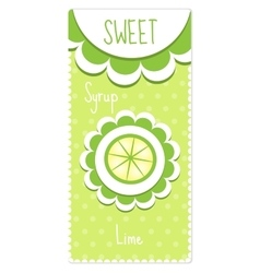 Sweet fruit labels for drinks syrup jam lime vector