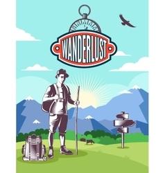 Vintage wanderlust poster vector