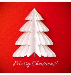 White origami Christmas tree greeting card vector image