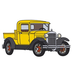 Yellow vintage pick-up vector