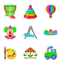 Young viewer icons set cartoon style vector
