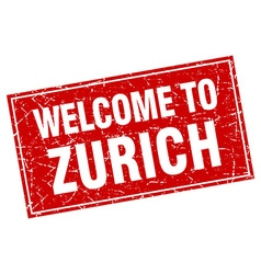 Zurich red square grunge welcome to stamp vector