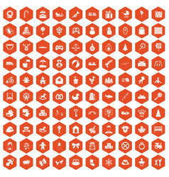 100 baby icons hexagon orange vector