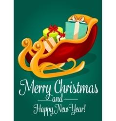 Santas sleigh with gift box Christmas holiday card vector image