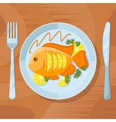 Fresh fish healthy dinner delicious dish vector