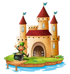 A castle with an old man near the pot of gold vector
