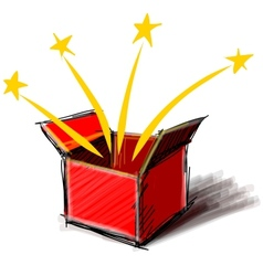 Present box cartoon sketch vector