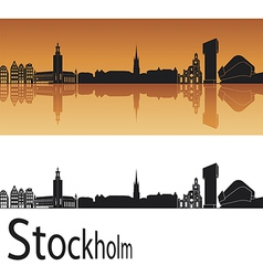 Stockholm skyline in orange background vector