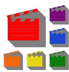 Film clap board cinema sign set of red orange vector