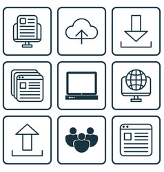 set of 9 world wide web icons includes pc data vector image