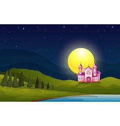 A pink castle in the hill vector