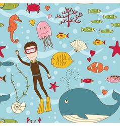Marine life seamless vector