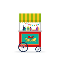 Mexican street food cart flyer poster banner and vector