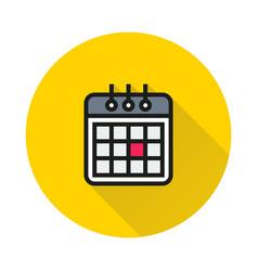 Calendaricon on round background vector