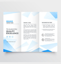 Abstract blue business tri fold brochure design vector
