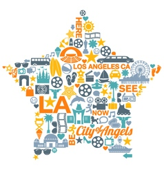Los angeles california icons symbols landmarks vector