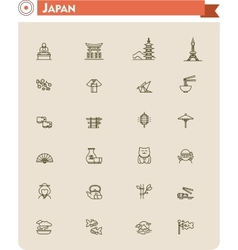 Japan travel icon set vector