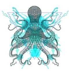 Zentangle stylized octopuss in triangle frame with vector