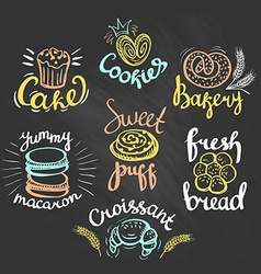 Set of color bakery logos on the chalkboard bakery vector