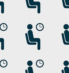 Waiting icon sign seamless pattern with geometric vector