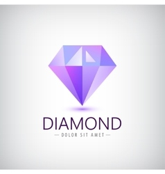 Purple diamond icon logo isolated fashion vector