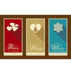 Set of flat christmas labels vector