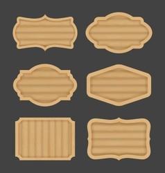 Wooden board label banner design Realistic wood vector image
