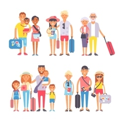 Traveling family group people on vacation together vector