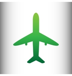 Airplane sign green gradient icon vector