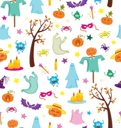 Happy Halloween seamless pattern with pumpkins vector image