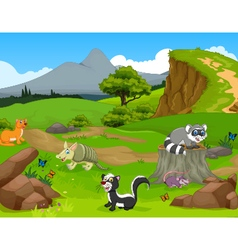 Funny animal cartoon in the jungle with landscape vector
